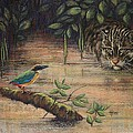 Treading Water Asian Fishing Cat Poster by Cynthia House