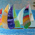 Boats at Sunset 1 Poster by Vicky Tarcau