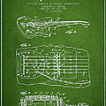 Fender Floating Tremolo patent Drawing from 1961 - Green Print by Aged Pixel