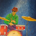 Jazz Drummer Print by Pamela Allegretto