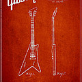 McCarty Gibson stringed instrument patent Drawing from 1958 - Red Print by Aged Pixel