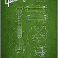 Mccarty Gibson stringed instrument patent Drawing from 1969 - Green Print by Aged Pixel