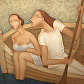 Pair in a boat  Print by Nicolay  Reznichenko