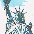 Statue Liberty - pop stylised art poster Print by Kim Wang