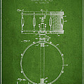 Snare Drum Patent Drawing from 1939 - Green Print by Aged Pixel