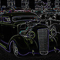 35 Ford Coupe Neon Glow Poster by Steve McKinzie