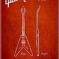Mccarty Gibson Electric guitar patent Drawing from 1958 - Red Print by Aged Pixel