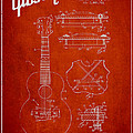 Mccarty Gibson stringed instrument patent Drawing from 1969 - Red Print by Aged Pixel