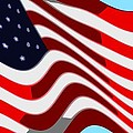 50 Star American Flag Closeup Abstract 7 Print by L Brown