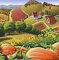 5x7 greeting card Appalachian Pumpkin Patch Farm Country Landscape by Walt Curlee