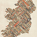 Ireland Eire City Text map Poster by Michael Tompsett