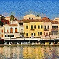 Painting of the old port of Chania Print by George Atsametakis
