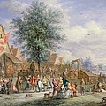 A Kermesse On St. Georges Day Print by Angel-Alexio Michaut