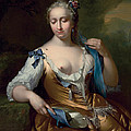 A Lady in a Landscape with a Fly on her Shoulder Print by Frans van der Mijn