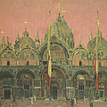 A Red Sky At Night, San Marco Print by Walter Richard Sickert