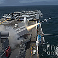 A Rim-7 Sea Sparrow Missile Is Launched Print by Stocktrek Images