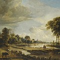 A River Landscape with Figures and Cattle Print by Aert van der Neer