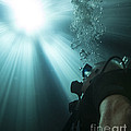 A Scuba Diver Surfacing And Looking Print by Michael Wood