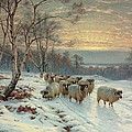 A shepherd with his flock in a winter landscape by Wright Baker