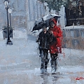 A Stroll in the Rain Print by Laura Lee Zanghetti