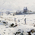 A Winter Landscape Holmstrup Print by Peder Monsted