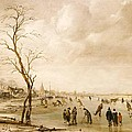 A Winter Landscape with Townsfolk Skating and Playing Kolf on a Frozen River Poster by Aert van der Neer