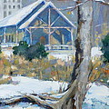 A Winter Walk in the Park Print by Sandra Harris