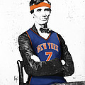 Abe Lincoln in a Carmelo Anthony New York Knicks Jersey Poster by Roly D Orihuela