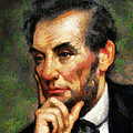 Abraham Lincoln - Abstract Realism Poster by Zeana Romanovna