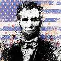 abraham lincoln pop art splats Print by MB Art factory