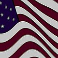 Abstract 50 Star American Flag Flying Enhanced cropped x 2 Print by L Brown
