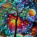 Abstract Art Original Colorful Landscape Painting A MOMENT IN TIME by MADART Print by Megan Duncanson