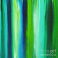 Abstract Art Original Textured Soothing Painting SEA OF WHIMSY STRIPES I by MADART Print by Megan Duncanson
