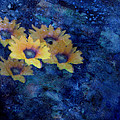 Abstract Daisies on Blue Poster by Ann Powell