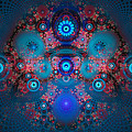 Abstract fractal art blue and red Poster by Matthias Hauser