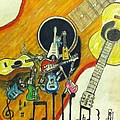 Abstract guitars Poster by Larry Lamb