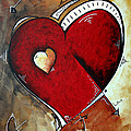 Abstract Heart Original Painting Valentines Day HEART BEAT by MADART Print by Megan Duncanson
