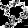 Abstract Leaf Pattern - Black White Grey Print by Natalie Kinnear