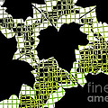 Abstract Leaf Pattern - Black White Lime Green Print by Natalie Kinnear