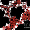 Abstract Leaf Pattern - Black White Red Print by Natalie Kinnear