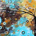 Abstract Painting Chocolate Brown Whimsical Landscape Art BABY BLUES by MADART Print by Megan Duncanson