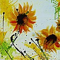 Abstract Sunflowers 2 Print by Ismeta Gruenwald