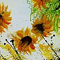 Abstract Sunflowers Print by Ismeta Gruenwald