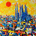 ABSTRACT SUNSET OVER SAGRADA FAMILIA IN BARCELONA Poster by ANA MARIA EDULESCU