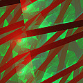Abstract Tiled Green And Red Fractal Flame Print by Keith Webber Jr