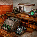 Accountant - Typewriter - The accountants office Print by Mike Savad