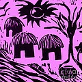 African Huts Pink Poster by Caroline Street