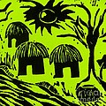 African Huts Yellow Print by Caroline Street