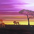 African Lions Print by Barbara Hayes