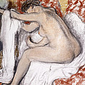 After the Bath Woman Drying Herself Print by Edgar Degas